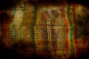 Nostalgic medal ribbons and letter