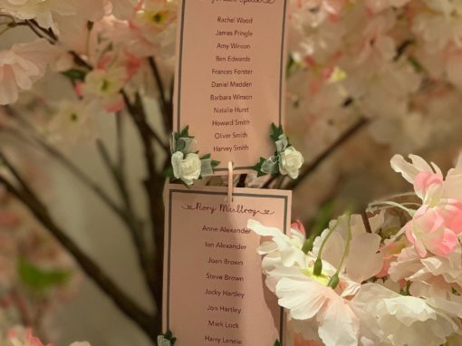 Freelance Work – Blossom Tree Wedding Table Plan