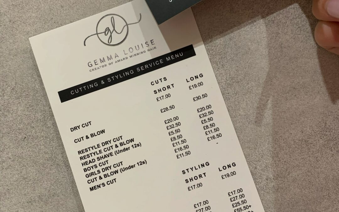 Gemma Louise Hair – Exclusive Finish Loyalty Cards & DL Price Lists